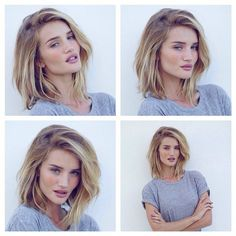 I love her hair! Model and actress Rosie Huntington-Whiteley cut her hair mid-length at the end of last year, but decided to cut it even shorter into a long bob in February We love her tousled tresses! 2015 Hairstyles, Pretty Hairstyles, Bob Hairstyles How To Style, Cut Her Hair, Hair Cuts, Hair Day, New Hair, Medium Hair Styles, Short Hair Styles
