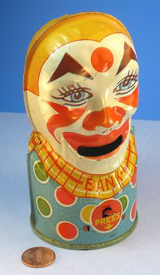 Vintage tin litho toy bank, J. Love Vintage, Vintage Circus, Vintage Tins, Penny Bank, Toys In The Attic, Piggy Banks, Creepy Clown, Tin Toys, Toys Shop