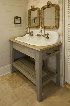 This is an adorable alternative to double sinks. A trough sink like this would be great for a kids' bath, that way there will be less squabbling over space and who's turn it is. by Brown Contractors Fine Custom Homes