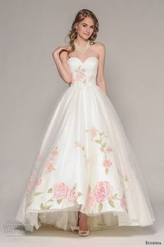 eugenia couture fall 2016 bridal strapless sweetheart neckline pretty hand painted floral accent wedding ball gown dress style rosalia -- Top 100 Most Popular Wedding Dresses in 2015 Part 1 Popular Wedding Dresses, 2016 Wedding Dresses, Bridal Dresses, Prom Dresses, Floral Wedding Dresses, Floral Gown, Dresses 2016, Dresses Online, Wedding Gowns