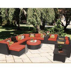 luxury outdoor garden u shape 8 seater sofa group black rattan
