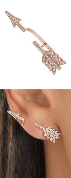 Diamond arrow cartilage earring rose gold cartilage stud earrings
