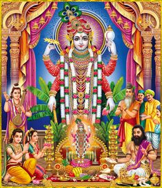 """☀ SHRI VISHNU NARAYANA ॐ ☀ Artist: Yogendra Rastogi Sukadeva Goswami said: """"The highest perfection of human life, achieved either by complete knowledge of matter and spirit, by practice of mystic powers, or by perfect discharge of occupational duty,. Lakshmi Images, Radha Krishna Images, Krishna Art, Radhe Krishna, Shree Krishna, Krishna Leela, Ganesha Art, Tanjore Painting, Krishna Painting"""