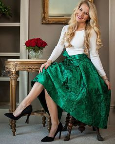 Glam Floral Embossed Waterfall Skirt in Emerald - Skirt - Bottoms - Retro, Indie and Unique Fashion