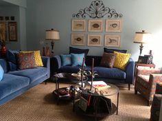 Rene's beautiful sofa.com Margot sofas in turquoise cotton velvet