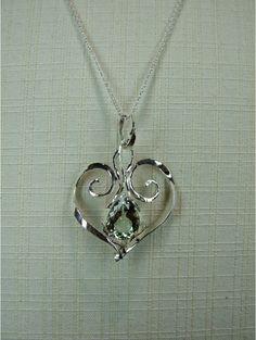 Ciondolo cuore argento e Prasolite