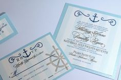 NEW Luxury Whitney Collection Vintage Nautical Anchor Invitation Suite for romantic nautical theme destination wedding - Deposit Listing on Etsy, $100.00