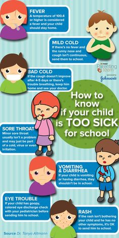Sick for School? This guide will help you figure out when to keep your child home from school if they're feeling sick.This guide will help you figure out when to keep your child home from school if they're feeling sick. Sick Baby, Sick Kids, Sick Toddler, School Health, Kids Health, Health Club, Health Fitness, Kids And Parenting, Parenting Hacks