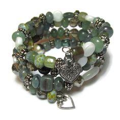 Jade Green Memory Wire Bracelet with Czech Glass by twinbrooks, $15.00