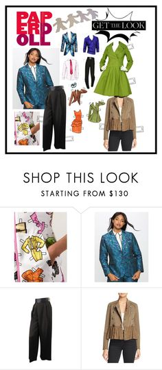 """""""Paper Dolls"""" by sojazzed ❤ liked on Polyvore featuring Moschino, Eloquii, Chanel, Free People, Alaïa, GetTheLook, military, brocade and paperdolls"""