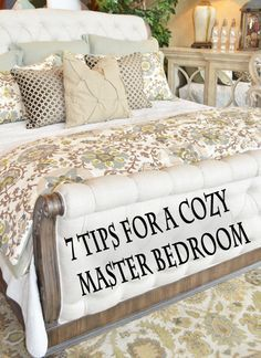 Your master bedroom is the one place that you can go after a long day and relax completely… right? If you're shaking your head, you may be in need of a master bedroom makeover. When thinking … Cozy Bedroom, Dream Bedroom, Cozy Master Bedroom Ideas, Master Bedrooms, Bedding Master Bedroom, Pretty Bedroom, Paint Colors Master Bedroom, Master Suite, Bedroom Romantic