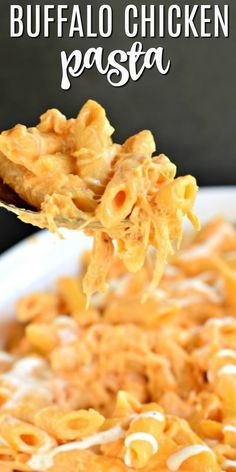 Easy Buffalo Chicken Pasta Casserole Recipe – 30 Minute Meal Idea Buffalo Chicken Pasta Casserole is an easy chicken dinner packed with cream cheese, buffalo sauce, and cheese. Just like buffalo chicken dip, once you start eating it's hard to stop! Crock Pot Recipes, Easy Chicken Recipes, Easy Dinner Recipes, Cooking Recipes, Buffalo Chicken Recipes, Cheesy Chicken, Easy Pasta Recipes, Chicken Dips, Vegetarian Pasta Recipes