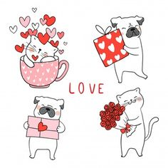 Draw Cat And Pug Dog With Little Heart For Valentine. : Draw cat and pug dog with little heart for valentine. Premium Vector Discover thousands of Premium vectors available in AI and EPS formats Doodle Cartoon, Cartoon Sketches, Cartoon Styles, Dog Wallpaper Iphone, Dog Tumblr, Cat Drawing, Animal Drawings, Cute Wallpapers, Cat Art