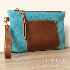 Wristlet in turquoise and cognac Italian vegetable tanned leather