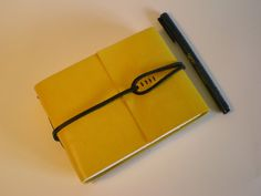 Leather Sketchbook Medieval binding Yellow & Black by Susan Green Books--super cool closure
