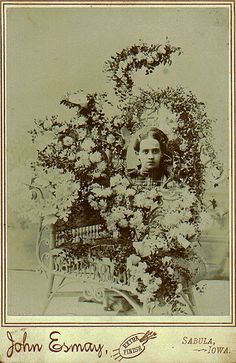 "Lisby Funeral Flowers for a Girl, Cabinet Card, Circa 1885  ""John Esmay, Subula, Iowa."""