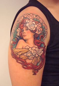 Mucha girl by ~viptattoo on deviantART I love Mucha, this isn't my favorite, but it gives me an idea