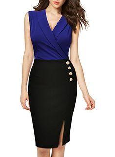 MIUSOL Women's Fashion Sleeveless Wrap Casual Cocktaik Trench Dress Blue Size Small/UK 8