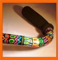 Hand-painted cane. Every Color in the Rainbow . . . by DoodleCanes on Etsy, $135.00