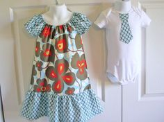 Brother Sister Matching Outfits Peasant Dress and Baby by Bewbear, $38.00