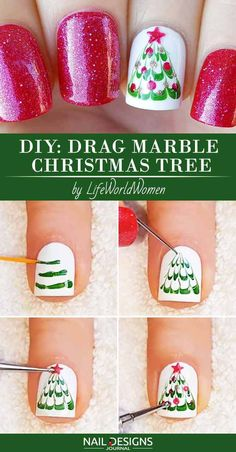 10 Charming Christmas Nail Art Tutorials You'll Adore: #10. Mesmerizing Drag Marble Christmas Tree; #christmasnailart; #nailart; #nailtutorial