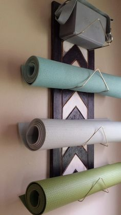 Chevron Yoga Mat Holder Wall mounted yoga by WuduWarehouse