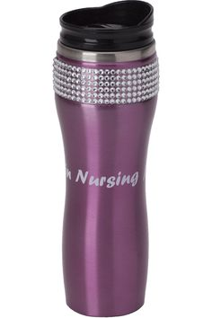 Bring on the bling with rows of bright rhinestones on these stainless steel coffee travel mugs in 3 stunning metallic colors. This durable 12 oz. mug is designed for both hot and cold use. The mug has a lightly dipped middle for ease in gripping and comes with a comfortable lipped lid for drinking ease. Measures 21.8cm H x 7.0cm T x 6.3cm B Sizes: OS Color: Pink (PINK)