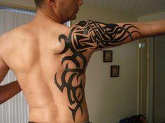 Arm Tribal Tattoo Design Image Black Ink Tribal Tattoo Design On Side And Right Arm - http://tattooideastrend.com/arm-tribal-tattoo-design-image-black-ink-tribal-tattoo-design-on-side-and-right-arm/ - #Tattoo-Design, #Tribal, #Tribal-Tattoo