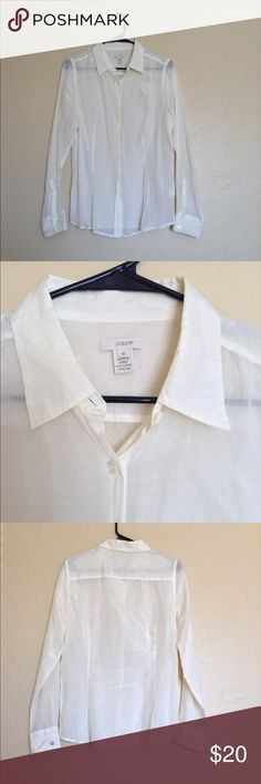 ❤️J. Crew Button Up Shirt❤️ Excellent condition. Size 10. Silk & cotton. No rips, stains or tears. Ivory. J. Crew Tops Button Down Shirts