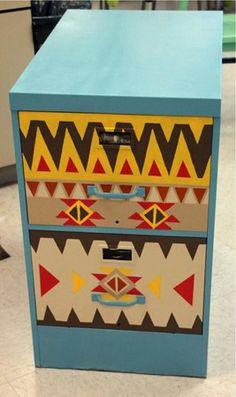 for our fundraiser. painted metal file cabinet.