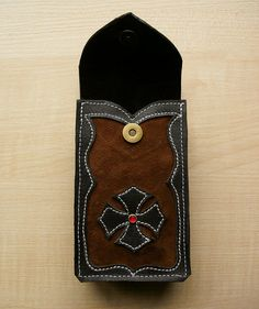 Gothic / steampunk leather Tarot cards case Brown por DarkCenturies