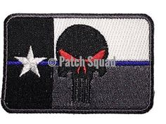 Velcro Texas Flag Punisher Tactical Patch thin Blue Line - By patch Squad