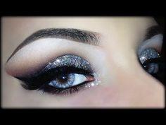 Sexy Christmas Cut Crease - 3D Silver Glitter Elegant Makeup Tutorial (Trucco Natale) 2014 - YouTube