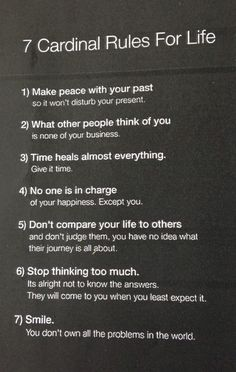 Cardinal rules for life. This is great advice.