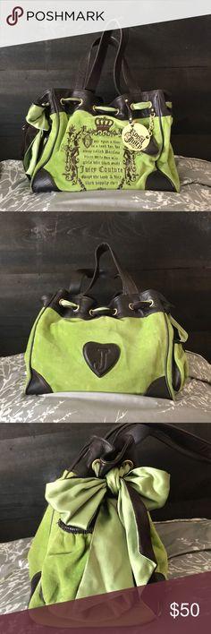 9deb7480577 AUTHENTIC CLASSIC Juicy Couture Handbag 👜 Green Juicy Couture Fairytale  Velour Classic Daydreamer Handbag 💚🧚