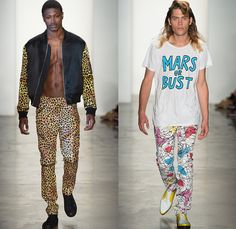 Jeremy Scott 2014 Spring Summer Mens Runway Collection - New York Fashion Week - Teenagers from Mars - TV Color Bar Stripes Tribal Masks Car...
