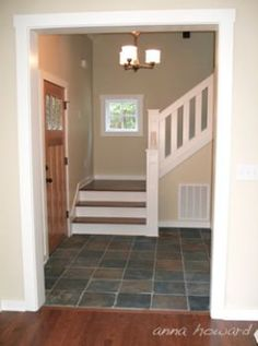 RH Like the look of slate tile floor. Would look well with Brazilian cherry on steps. Wall color works well with both.