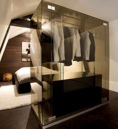 smoked grey glass wardrobe (closet) - Jeroom Jansen and Bertel Grote of Grand & Johnson Home Design, Küchen Design, Design Hotel, Modern Design, Glass Wardrobe, Wardrobe Closet, Closet Rooms, Man Closet, Bedroom Wardrobe