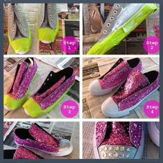 DIY Glitter Converse Shoes-2 of my favorite things:glitter and converse!