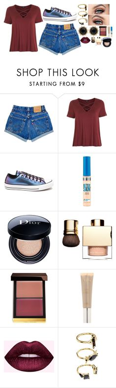 """Untitled #8570"" by gabriellewidger ❤ liked on Polyvore featuring Topshop, Converse, Maybelline, Christian Dior, Tom Ford, Stila, Noir Jewelry and Gucci"