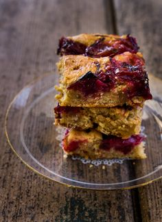 "Rhubarb & Ginger Blondies ~ via this blog, ""Raspberri Cupcakes""."