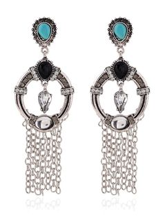Rhinestone Fringe Drop Earrings #CLICK! #clothing, #shoes, #jewelry, #women, #men