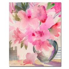 """Trademark Art 'Pink Azaleas' by Sheila Golden Framed Painting Print on Wrapped Canvas Size: 24"""" H x 18"""" W x 2"""" D"""