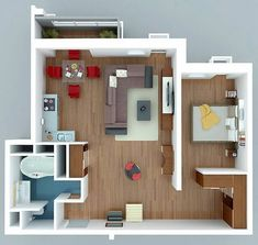 Apartments : Inspiring futuristic modern apartment design ideas with modern wardrobe designs for master bedroom picture - a part of Fascinating 1 Bedroom Apartment/House Plans Layouts Casa, Bedroom Layouts, House Layouts, Apartment Bedroom Decor, Apartment Layout, Apartment Design, Apartment Interior, Bedroom Furniture, Small House Plans
