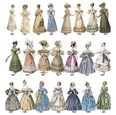 Historical Fashion — lolita-wardrobe: A Timeline of Women's Fashion. 1800s Fashion, 19th Century Fashion, Victorian Fashion, Victorian Era, Vintage Fashion, Medieval Fashion, Vintage Dresses, Vintage Outfits, Mode Costume