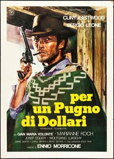 A Fistful Of Dollars italian movie poster. R1976 2F. Sergio Leone. Clint Eastwood. Art by Renato Casaro