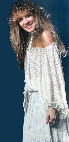 glowing Stevie wearing an unusual lacy, drop-waist dress ☆♥❤♥☆
