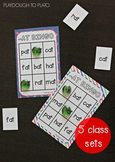Super fun word family Bingo. 5 class sets included! Such a fun way to practice CVC words that end in -AT, -OP, -ET, -IP and -UG.