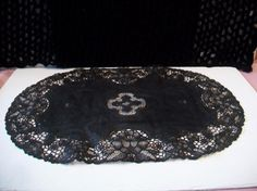 Black and Gold Oval Shaped Lace Placemat Reversible Halloween