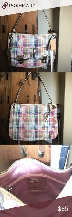 Coach Shoulder Purse Gently used coach purse! All zippers and clasps work. Fabrics inside and out are clean. Includes crossbody strap. Coach Bags Shoulder Bags